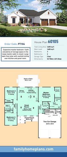 building a house Country Home Plan with Open Floor Plan This home provides a very functional split-floor plan layout with many of the features that your family desires. Basement House Plans, Ranch House Plans, Craftsman House Plans, Country House Plans, New House Plans, Dream House Plans, Modern House Plans, Small House Plans, House Floor Plans
