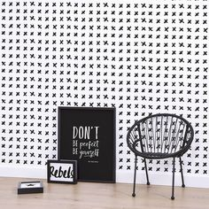 BLACK CROSSES - MONOCHROME - Natty & Polly - Wallpaper Australia