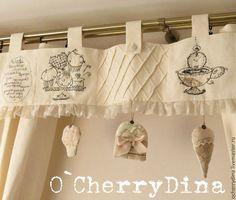 """Комплект """"Традиционное английское"""" - белый,кремовый,шторы,шторы на кухню"""