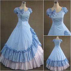 nuovo su misura in cotone blu senza maniche lungo fata festa in costume(China (Mainland))