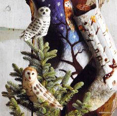 Felt owls are perfectly sized to perch atop small to medium-sized Christmas trees. Made with needle-felted details. A set of two, one of each style. Product Description • Owl Tree Topper - Set/2: • Si