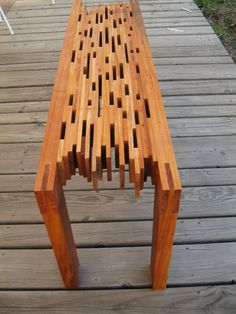Repurposed Big Leaf Mahogany Slat Bench Artist: Muhammad Durkee Species: Big Leaf Mahogany (Swietenia macrophylla) Country Of Origin: Republic of Fiji Age: years Source: >Plantation >>>Fijian Hardwood Corperation >>>>>Pure Fiji >>>>>>>>>>>>Muhammad Durkee Diy Pallet Projects, Pallet Ideas, Wood Projects, Woodworking Projects, Simple Projects, Woodworking Bench, Unique Furniture, Pallet Furniture, Furniture Projects