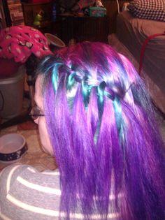 purple and teal waterfall braid