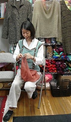 Takako Ueki, owner of Habu Textiles. Photo by Lisette, The Flitter Knitter.