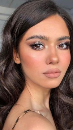 Wedding Makeup For Blue Eyes, Bridal Hair And Makeup, Wedding Hair And Makeup, Hair Makeup, Makeup For Prom, Olive Skin Makeup, Brown Makeup Looks, Classic Makeup Looks, Makeup Looks For Brown Eyes