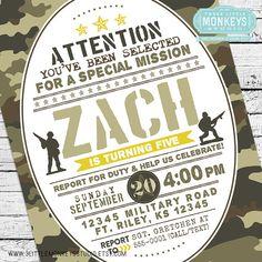 Camo Birthday Invitation A personalized military Army toy