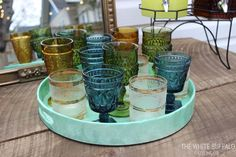 Stylish and Easy Entertaining - use a variety of colored vintage glassware for a collected and fun look #vintage #entertaining