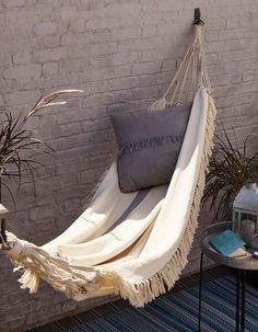 GoodHome Rural Beige Fringed Hammock - B&Q for all your home and garden supplies and advice on all the latest DIY trends Garden Hammock, Diy Hammock, Outdoor Hammock, Hammock Swing, Porch Swing, Crochet Hammock, Garden Pool, Outdoor Garden Furniture, Outdoor Decor