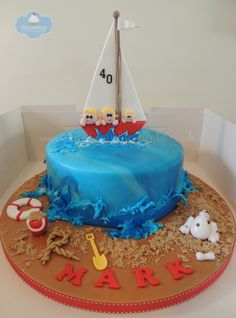 Fishing Boat Cake With Sleeping Captain Fish Cake Pinterest - Fishing boat birthday cake