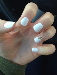 White nails, glitter gold ombre accent nail