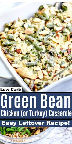 This Low Carb Green Bean Chicken (or Turkey) Casserole is the perfect Thanksgiving leftovers casserole! This Low Carb Green Bean Chicken (or Turkey) Casserole is the perfect Thanksgiving leftovers casserole! Thanksgiving Leftover Casserole, Turkey Casserole, Casserole Recipes, Keto Casserole, Low Carb Chicken Casserole, Leftover Chicken Recipes, Leftovers Recipes, Thanksgiving Drinks, Thanksgiving Leftovers