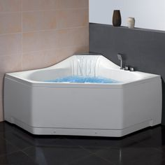 "Ariel Platinum AM168JDTSZ Whirlpool Bathtub -$2,590.00.  59""x59""x31.5"" Two Person Unit: Yes Whirlpool Motor:	1.2 HP Hydraulic Pressure:	0.1~0.2mpa Whirlpool Bathtub System:	22 Hydro-Massage Jets Massage Modes:	6 Intensity Options:	4 Handheld Showerhead:	Yes Cushioned Headrests:	0 Tub Capacity:	97 Gallons Waterfall Tub Filler:	Yes Computer Control Panel:	Yes FM Radio:	Yes Chromatherapy Lighting:	Yes Double Drain System:	Yes Auto Pipe Cleaner:	Yes Heat Pump:	Yes"