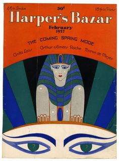 Sphinx and eyes,Egyptian Revival cover art work by Erte for Harper's Bazar, February -Art Deco/ Egyptian influance Art Deco Illustration, Vintage Illustrations, Harper's Magazine, Magazine Covers, Cover Art, Art Nouveau, Erte Art, Romain De Tirtoff, Art Deco Artists