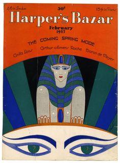 Sphinx and eyes,Egyptian Revival cover art work by Erte for Harper's Bazar, February 1927.