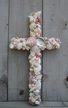 Seashell Cross/Pink Baptism Christening Cross/Cradle Cross/Nursery Wall Decor