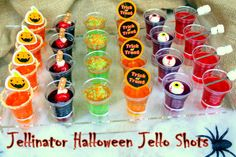 Happy Halloween from your fiends at The Jellinator! Let's not scare away our party ghosts with scary-tasting jello shots. Let's give them treats, not tricks Halloween Cocktails, Halloween Desserts, Halloween Jelly, Halloween Jello Shots, Hallowen Food, Halloween Food For Party, Halloween Party Decor, Halloween Treats, Adult Halloween