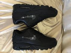 Blinged Womens Nike Air Max 90 Leather BLACK by sparkleandstride