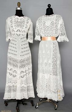 Two White Lace Tea Gowns, 1912-1915, Augusta Auctions, April 9, 2014 - NYC, Lot 177