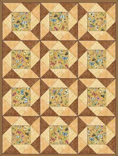 Sand Dunes Butterfly Pre-Cut Quilt Blocks Kit from Quilt Kit Shop