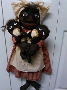 Primitive Black Folk Art Doll Set Mammy's Little Babies   eBay