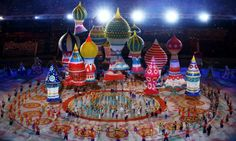 Large helium inflatables create the elements of St Basil's cathedral during the Opening Ceremony of the Sochi 2014 Olympic Games.