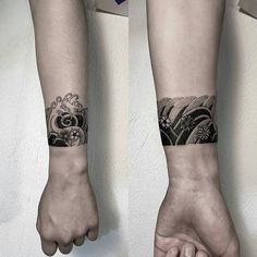 Japanese wave cuff by oozy_tattoo - tattoo band, arm cuff tattoo, wrist tattoo cover Mini Tattoos, Cover Up Tattoos, Trendy Tattoos, Body Art Tattoos, Tattoos For Guys, Tattoos For Women, Black Tattoos, Tatoos, Arm Cuff Tattoo