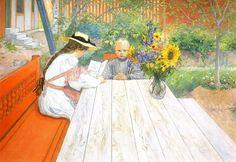 Carl Larsson (1853-1919) Karin reading (1904) Karin is de tweede vrouw van Carl Larsson, een Zweedse schilder. Zijn eerste vrouw, Vilhelmi...