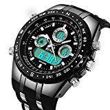 #9: binzi Militar Hombre Reloj de pulsera Agua Densidad de deporte Relojes Digital Reloj de Lujo LED de luz Dual de pantalla negra con banda de silicona