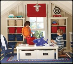 playroom idea, i love the fact that the table is really low so the kids can write, draw etc and i love the storage bins underneath