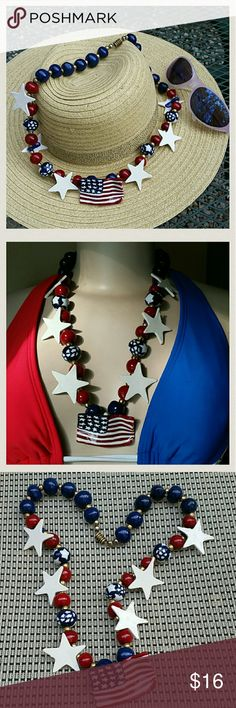 """4TH OF JULY SPECIALTY NECKLACE!!!! Celebrate our country's Independence day while wearing this great Fashion Statement necklace! Flying flag, 6 white stars, and red and blue beads! Brasstone separator beads and an XL brasstone screw closure. Well made for a fun day!! 27"""" long. Previously loved still in great condition. Jewelry Necklaces"""