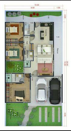 Plano de un solo nivel con garaje en terreno de 10 c 20 metros House Layout Plans, Dream House Plans, Small House Plans, House Layouts, House Floor Plans, Home Design Floor Plans, Plan Design, Model House Plan, House Blueprints
