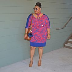From the Rez to the City: printed dress by Gwinnie Bee. Love the colorful print with the colorblock solid Gwinnie Bee, Luxe Life, Plus Size Women, Color Blocking, Plus Size Fashion, Chub Rub, My Style, Stylish, Womens Fashion