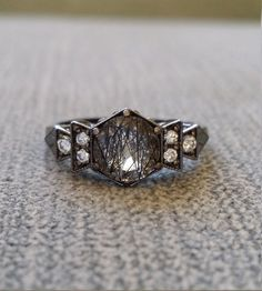 Antique Diamond Black Rhodium Rutilated Quartz by PenelliBelle Omg, this ring!