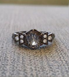 Antique Diamond Black Rhodium Rutilated Quartz by PenelliBelle Omg, this ring!