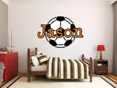Girls - Boys Soccer Name Monogram Nursery Room Vinyl Wall Decal Graphics