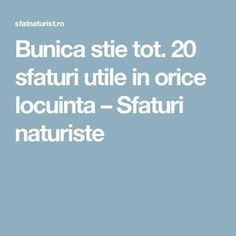 20 sfaturi utile in orice locuinta Utila, How To Get Rid, Clean House, Good To Know, Salvia, Helpful Hints, Life Hacks, Diy And Crafts, Healing