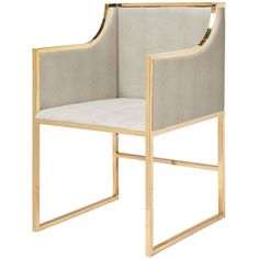 Worlds Away Faux Shagreen Chair with Brass Frame – Beige