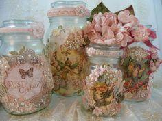 Altered mason jars in pink Victorian florals.: