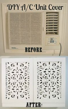 DIY air conditioner unit cover before after