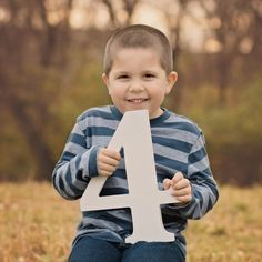 4 Sign Wooden Number Children's Photo Prop Four