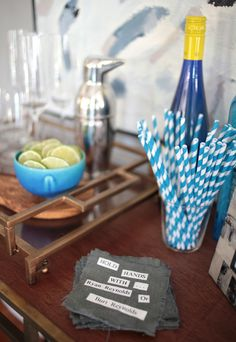 Doing this for our next shindig.  How Conversation Coasters will save your party … | Emily Henderson