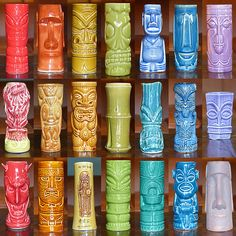 S. J. Marshall a spectrum of coloured tiki mugs a few vintage mugs plus modern-day mugs from the likes of K.C Hawaii, Cheeky Tiki, Accoutrements, FireWorks Studio, Tiki Farm, Munktiki and Shag....