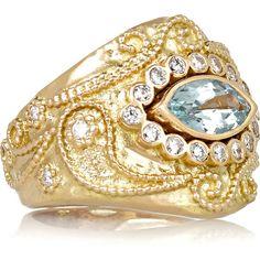 Aurélie Bidermann Fine Jewelry Cashmere 18-karat gold, diamond and... ($9,235) ❤ liked on Polyvore featuring jewelry, rings, glitter rings, 18k diamond ring, aurélie bidermann, aquamarine ring and 18k jewelry