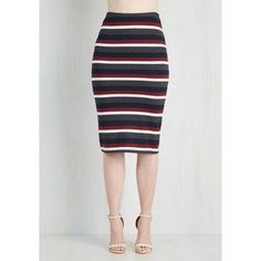 Vintage Inspired Mid-length Pencil Subsequently Chic Skirt by ModCloth ($45) ❤ liked on Polyvore featuring skirts, stripe long skirt, striped skirt, knee length pencil skirt, long striped skirt and pencil skirt