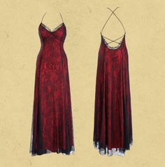 Michal Negrin Romantic Red Lining and Black Lace Long Evening Open Back Dress Decorated with Spaghetti Straps And Lace Trim Edge Pretty Outfits, Pretty Dresses, Beautiful Dresses, Cool Outfits, Fashion Outfits, Grad Dresses, Ball Dresses, Alternative Outfits, Dream Dress