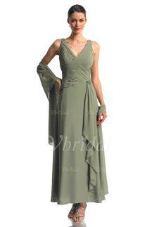 Mother of the Bride Dresses - $132.98 - A-Line/Princess V-neck Ankle-Length Chiffon Mother of the Bride Dress With Beading Cascading Ruffles (00805006954)