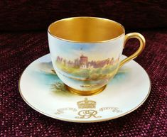 RARE Royal Worcester Demitasse, Teacup and Saucer for Coronation of George, The Fifth.