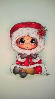 Christmas Drawing, Christmas Paintings, Christmas Art, Big Eyes Artist, Gothic Culture, Line Art Images, Eye Art, Copics, Christmas Pictures