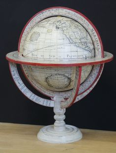 Lander and May handmade, handcoloured 10 inch Louis Charles Desnos terrestrial 18th Century globe with meridian ring - lander & may
