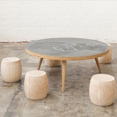 kids chalkboard table with timber stools from mark tuckey